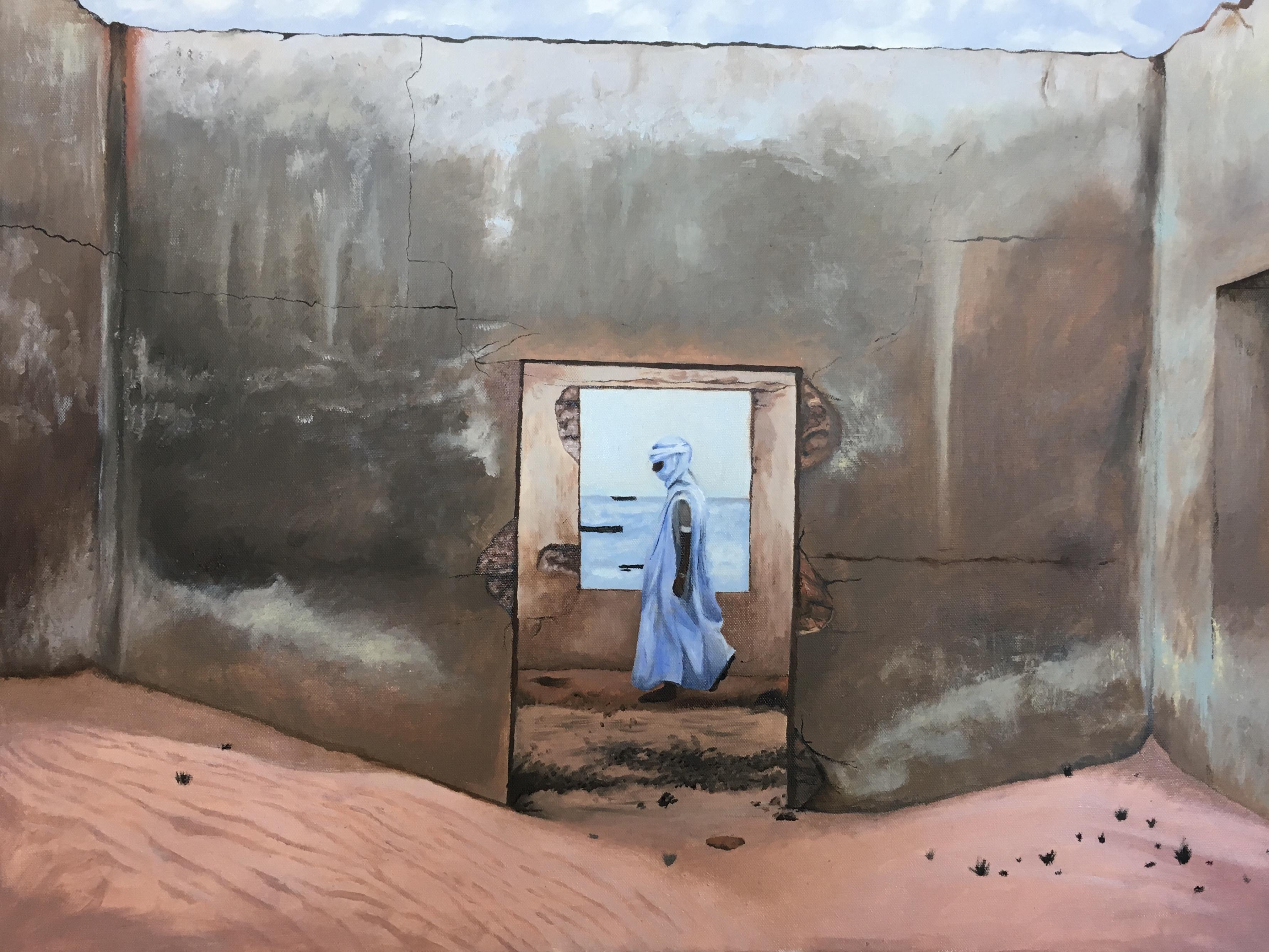 Ruines. Peinture à l'huile inspirée d'une photographie de Jody Mac Donald © Camille Laville